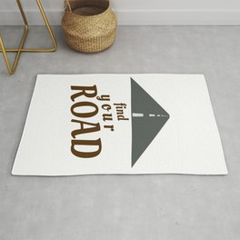 Find Your Road Not Taken, Less Traveled, Prints, Map, Logo, Goes On Forever Rug
