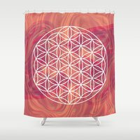 flower of life Shower Curtains featuring Life Flower by shutupbek