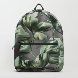 Ginko Leaves on Gray Abstract Backpack