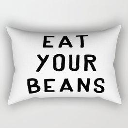 Eat Your Beans - Black on White Rectangular Pillow