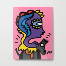 Horseman Graffiti Street Art Pink Sunset  Metal Print