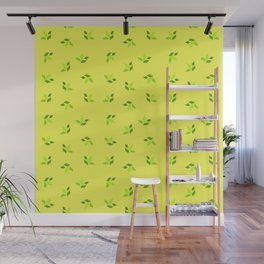 simple floral leaves seamless pattern 01 intensive green Wall Mural