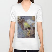 poe V-neck T-shirts featuring Poe by Michael Creese