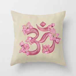 OM symbol Cherry Blossom watercolor Throw Pillow