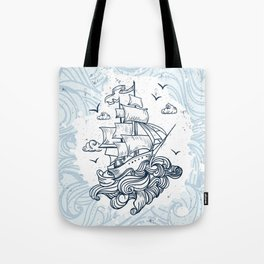 Hand drawn boat with waves background Tote Bag