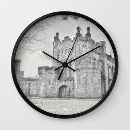 Ireland Kikenny Castle Artistic Illustration Pencil Style Wall Clock
