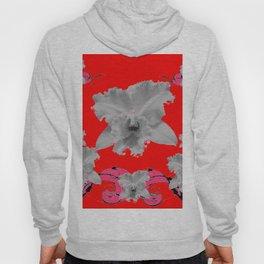 MODERN ART RED ART NOUVEAU WHITE ORCHIDS ART Hoody