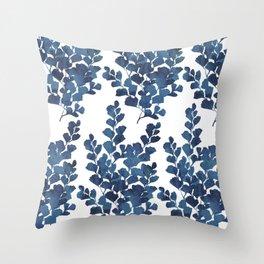 Blue watercolor maidenhair fern Throw Pillow