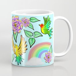 Birds Flowers and Rainbows Doodle Pattern Coffee Mug