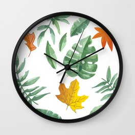 green leaf with pillow Wall Clock