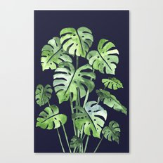 Delicate Monstera Blue #society6 Canvas Print