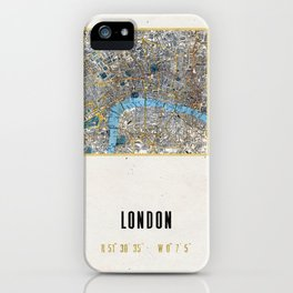 Vintage London Gold Foil Location Coordinates with map iPhone Case