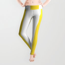 Banana yellow - solid color - white vertical lines pattern Leggings