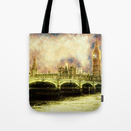 Abstract Golden Westminster Bridge in London Tote Bag