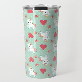 Baby Unicorn with Hearts Travel Mug