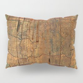 Distressed Old Map Pillow Sham