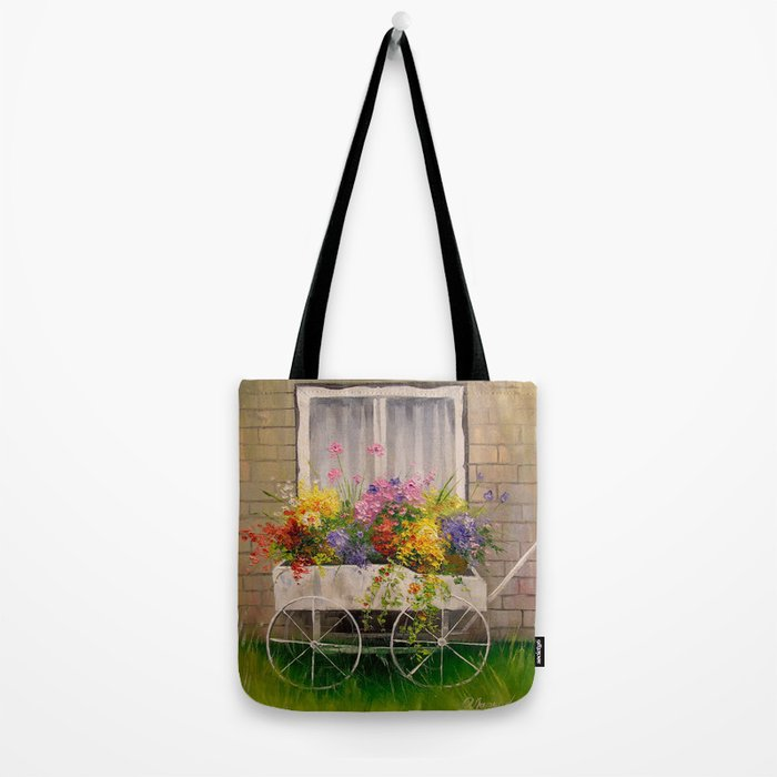 Old wagon with flowers Tote Bag
