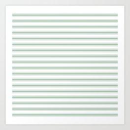 Moss Green and White Mattress Ticking Wide Striped Pattern Art Print