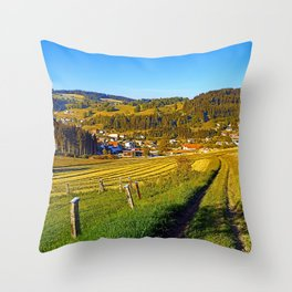 Path down to the village Throw Pillow