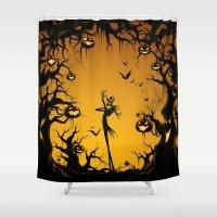 marauders Shower Curtains featuring Nightmare HALLOWEEN jack by kattie flynn