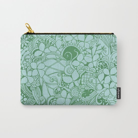 Blue square, green floral doodle, zentangle inspired art pattern Carry-All Pouch