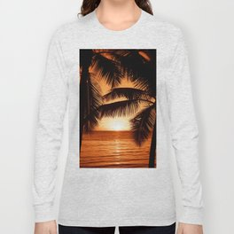 Perfect Palm Sunset (Color) Long Sleeve T-shirt