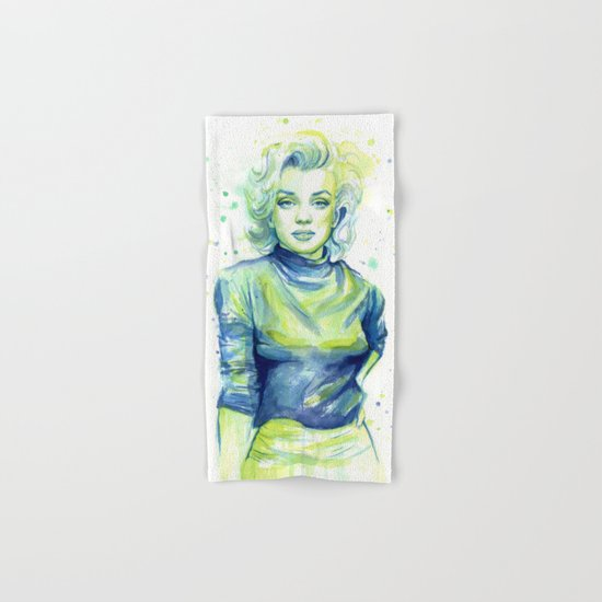 Marilyn Portrait Watercolor Painting Hand & Bath Towel