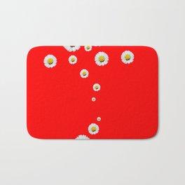 CHINESE RED WHITE DAISIES MODERN ART Bath Mat