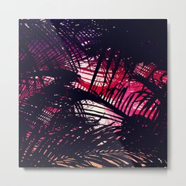 Tropical Purple and Red Sunset Palm Fronds Metal Print