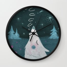 Howling in the night Wall Clock