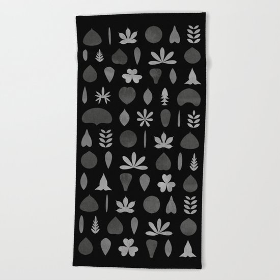 Leaf Shapes and Arrangements Pattern Greyscale Beach Towel