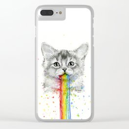 Kitten Puking Rainbows Cat Rainbow Vomit Clear iPhone Case