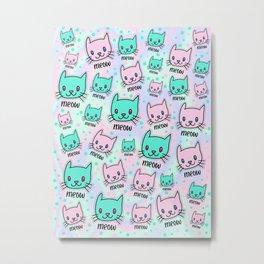 Cats Meow Pastel Kawaii Iridescent Texture Pattern Metal Print
