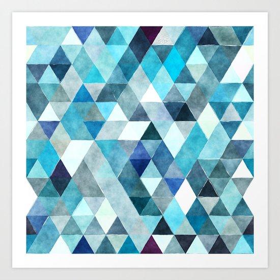 Retro Triangles Pattern 01 Art Print
