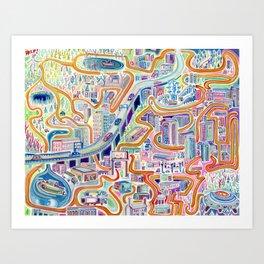 Help the Alien Find the Spaceship Art Print