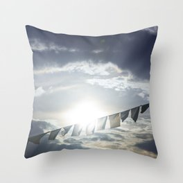 Prayer Flags at Sunset Throw Pillow