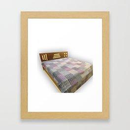 Handmade Block Print Kantha Bedcover Framed Art Print