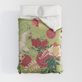 Japanese Birds and Flowers Garden Comforters