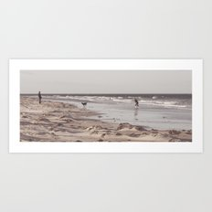 there's a man on the shoreline... Art Print