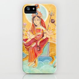 Beautiful Hindu goddess rendering Chandraghanta Devi. Navaratri. Day 3. Pastel drawing. iPhone Case
