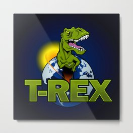 T Rex Dinosaur in the planet Metal Print