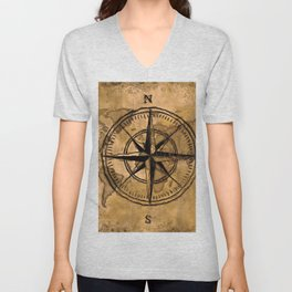 Destinations - Compass Rose and World Map Unisex V-Neck
