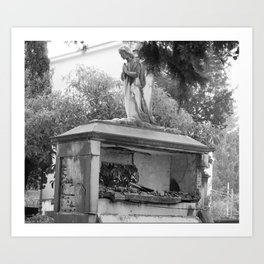 Old broken grave with angel Art Print