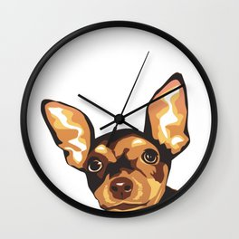 Billie the Miniature Pincher Puppy Wall Clock