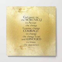 Serenity Prayer Kelt on Yellow Metal Print