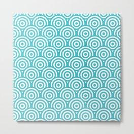 Blue & White Geometric Circle Pattern Metal Print