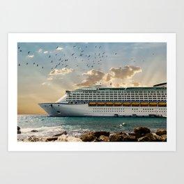 Front of Luxury Cruise Ship Moored Beyond Rocks Art Print