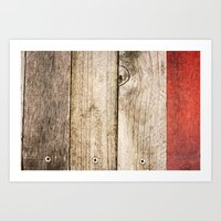 Wood, Wood, Red Art Print