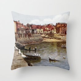 Aquarelle St Ives Cornwall Seagulls in the harbour Throw Pillow