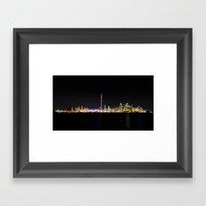 Toronto Skyline At Night From Centre Island Framed Art Print